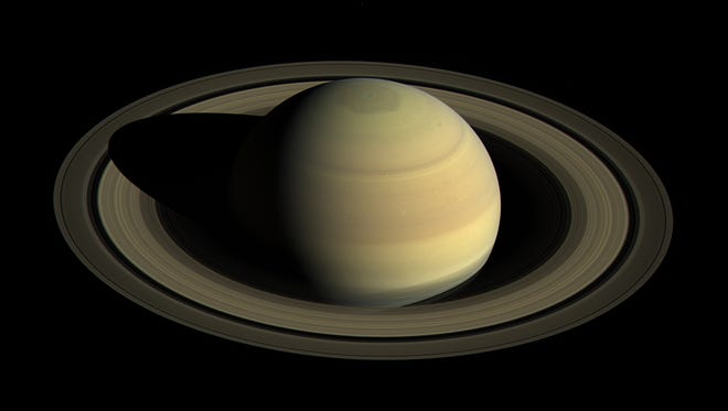Saturn from above courtesy of the Cassini spacecraft.