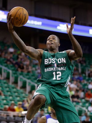 Boston Celtics guard Terry Rozier goes to the basket during the second half of an NBA summer league basketball game against the Philadelphia 76ers Tuesday, July 7, 2015, in Salt Lake City. (AP Photo/Rick Bowmer)