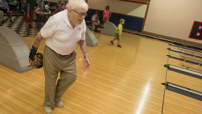 Robert Lloyd, 87, of Prattville gets in a practice game at Bama Lanes in Prattville on Thursday, July 2, 2015.