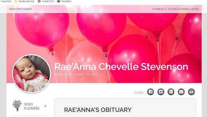 This is a screenshot of Rae'Anna Stevenson's obituary. Her 25-year-old mother has been charged in her death.