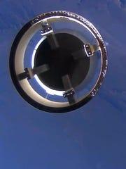 The New Shepard crew capsule separates April, 20, 2015,