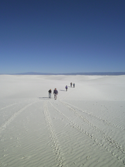 A unique feature of Alkali Flats Trail at White Sands National Monument is that hikers follow their own paths.