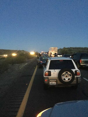 A police standoff caused a 5-mile backup on Interstate 10 near Quartzsite on Sunday night, state officials said.