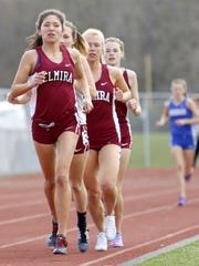 Abbey Wheeler, of Elmira, paces the Express in the girls 3,000-meter run at the Waite/Molner Invitational Track & Field meet April 23 at Ernie Davis Academy. Wheeler will start her career at Providence College in the fall, where she will run for Molly Huddle's professional coach, Ray Treacy.