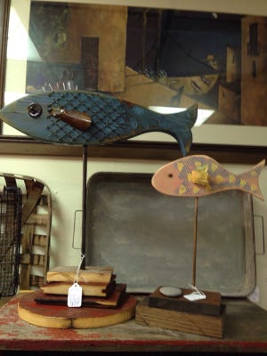These whimsical fish are ready to decorate any lake or cabin home and they're for sale at Salvage Sisters in Waite Park.