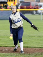 Notre Dame's Alivia Clark delivers a pitch to a Newark Valley batter a game this season.