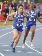 Indiana State sprinter Katie Wise, left,