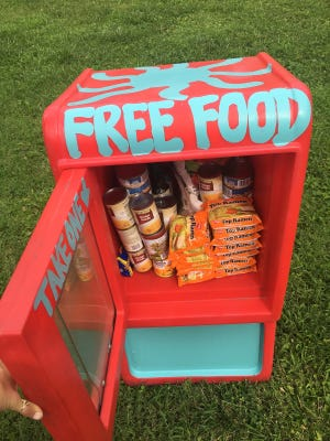 This is one of three food boxes placed around Indianapolis in a college student's initiative to address hunger.