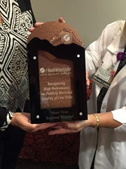 Mesa View Hospital received the highest ranking of