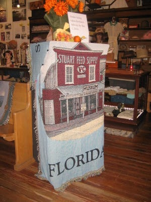 The throw rug on display at Stuart Heritage Museum.