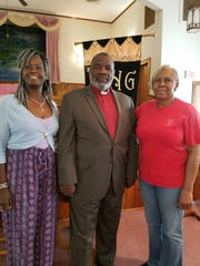 From left, Alma Atkins, Rev. Spencer E. Hardaway and Bobbette Mayes of Rock Hill Missionary Church in Shiloh.