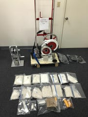 Nathan Ott is accused of manufacturing and delivering fentaynl around Chambersburg. These items were seized during the investigation.