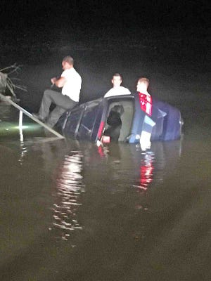 A man drove his car down the pier and into the water at Trice Landing early Wednesday morning, thinking it was a bridge.