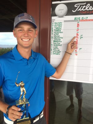 Pine View's Jaden Milne is all smiles after firing a career-best 5-under 67 on Wednesday during the weekly JAG summer tournament.