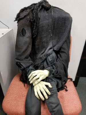"""The """"effigy"""" found across the street from the University of Louisville's Kent School of Social Work."""