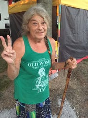 Paula Willett came to Fancy Farm to spread the word about the late Gatewood Galbraith.