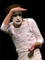 French mime artist Marcel Marceau, 77, performs for