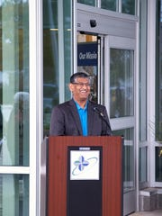Dr. Pradeep Giriyappa, HFM Primary Care, at the ribbon-cutting of the HFM Lakefront Campus in Two Rivers Saturday.