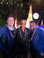 Herman Ada with the FIVB President, center, and a representative from Palau, right, at the 22nd Asian Volleyball Confederation General Assembly