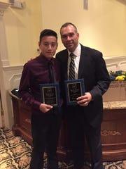 David Guerra, left, along with Saddle Brook HS soccer