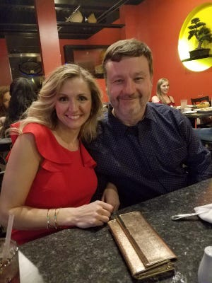 Valentine Date – Restaurants all over town were booked for Valentine celebrations and red was the color of the day. Linda Carlton and Ray Lamey headed downtown Evansville for dinner at Zuki.