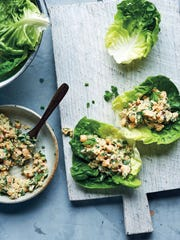 This chickpea salad, served in lettuce wraps, was created to mimic chicken salad.