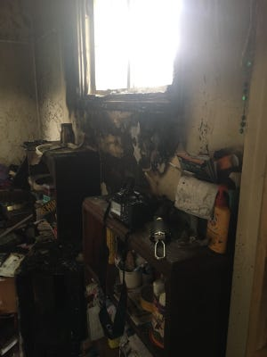 Ventura firefighters knocked down a fire in the bathroom of a residence in east Ventura on Wednesday morning.