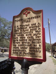 Historic plaques line the sidewalks of Lincoln, a short drive from Ruidoso.