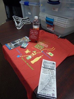 Greater Gadsden Area Tourism has an assortment of giveaways for visitors to the World's Longest Yard Sale next week, including sunscreen, hand sanitizer, bottled water, coozies and maps of the 690-mile route of the sale.