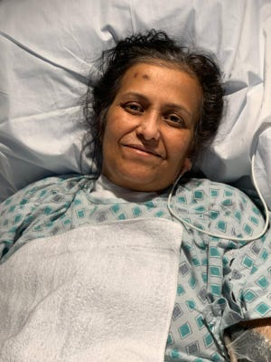Anjana Samadder, the first patient to receive convalescent plasma at Wexner Medical Center. This photo was taken after she was taken off a ventilator.