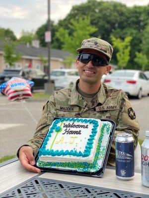 AJ Madden gets a sweet welcome home after working with patients in New York with coronavirus.