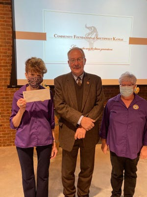 American Legion Auxiliary members Kelley Marshall and Paula Sellens accepted a $2,500 grant from the Community Foundation of Southwest Kansas recently.