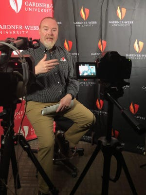 """Noel Manning, associate vice president for communications and marketing at Gardner-Webb, is interviewed for """"The Dancin' Bulldogs"""" documentary."""