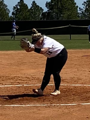 Former Cheboygan softball player Avery Nowosad prepares to throw a pitch for Delta College during her first season of college softball. Nowosad, who originally was recruited by the Pioneers as a second baseman, became the program's ace during its shortened 2020 campaign. While pitching in Florida, Nowosad finished with a 4-1 record and 1.56 earned run average.