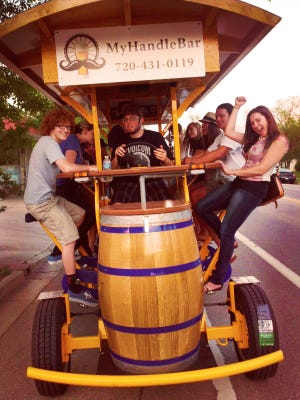 MyHandleBar is a 16-person party bike that takes people around Fort Collins, Colorado.