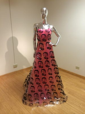 """A dress with CSU President Tony Frank's likeness on it will be featured in """"FGI Pop Art Fashion Show: Gallery Exhibition,"""" which starts Friday and runs through April 10."""
