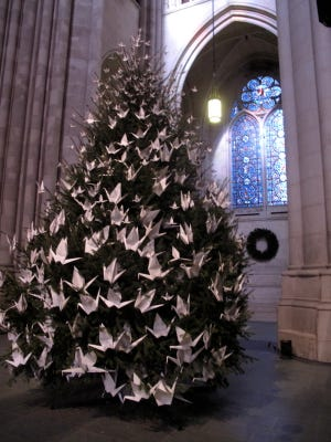 The Cathedral of St. John the Divine shows the cathedral's peace tree, which is decorated with paper cranes. The tree is a Christmas tradition at the St. John the Divine, which is the largest Gothic cathedral in the world.