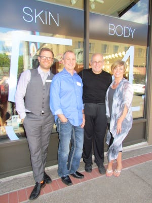Luke Huffstutter, Corey Brown, Michael Cole and Sara Marie Brown in front of Salon554.