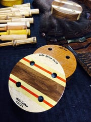 Kevin Croteau's hand-made turkey callers on display at the Central Wisconsin Deer and Hunting Expo on Feb. 15, 2015 in Rothschild, Wisconsin.