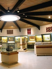 Artifacts and exhibits are displayed at the Salmon
