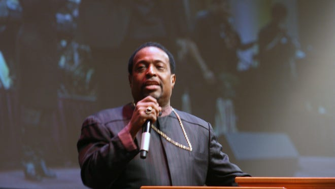Bishop Edgar Vann II gives a sermon at  Second Ebenezer Church in Detroit. Vann says a police officer brandished a gun during a traffic stop of Vann.