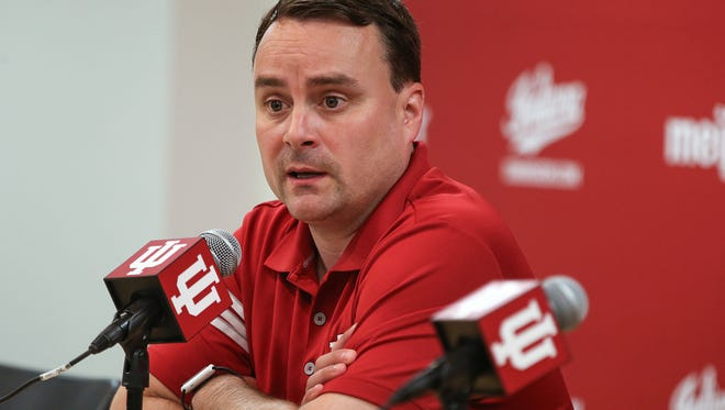 """Indiana University head basketball coach Archie Miller addresses the upcoming season during media day at Assembly Hall, Bloomington, Ind., Thursday, Sept. 28, 2017. Miller also said he has """"no reason to think"""" IU is involved in the FBI cheating investigation consuming college basketball."""