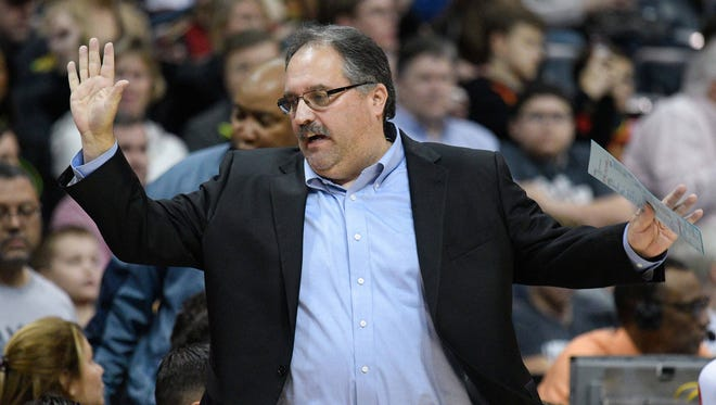 Pistons coach Stan Van Gundy reacts to a play against the Hawks during the first half on Sunday, Feb. 11, 2018, in Atlanta.