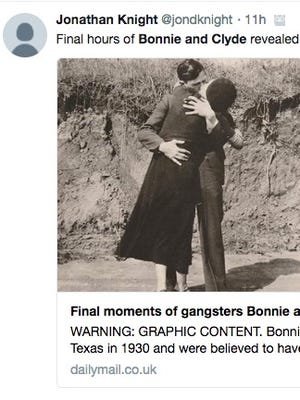 Photos taken before and after Bonnie and Clyde were gunned down by police are on display at the Photographs Do Not Bend gallery in Dallas.