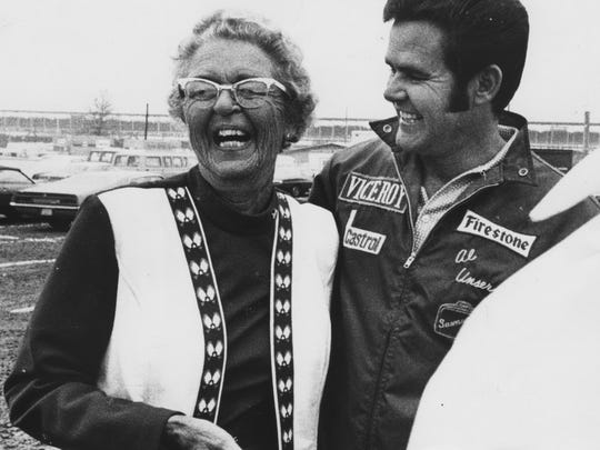 Mary Unser, better known at the Indianapolis Motor Speedway as Mom Unser with Al Unser on May 8, 1972.