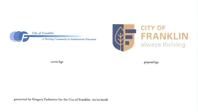 """Greg Zychowicz, who does freelance design work as part of the Zychowicz Design Agency, has designed a new logo for Franklin. The common council subsequently requested more design options be created. His new look with the shield would replace the """"flying F"""" design the city has used for years."""