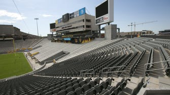 New seats are seen on the west and southwest part of Sun Devil Stadium in Tempe, during a tour of the stadium as the end of Phase two renovations is nearing completion on Tuesday, August 23, 2016.