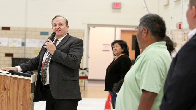 CCSD Superintendent Don Levinski speaks April 14, 2015, during a ribbon-cutting ceremony at Naschitti Elementary School in Naschitti. Levinski was officially discharged by the district in November.