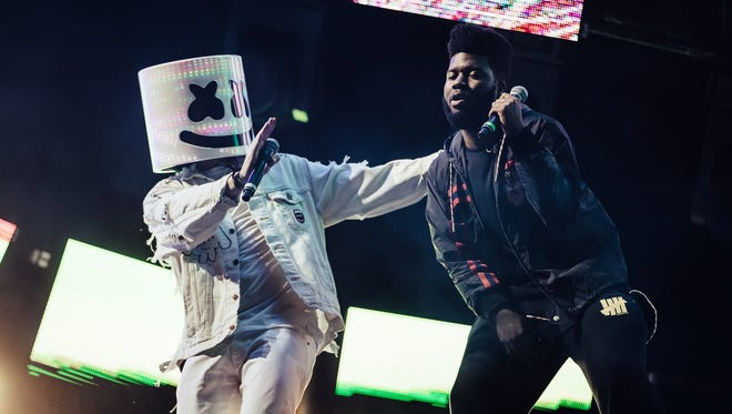 """Sun City Music Festival headliner Marshmello, at left, brought hometown hero Khalid on stage to perform their new single, """"Silence,"""" at the festival on Saturday."""
