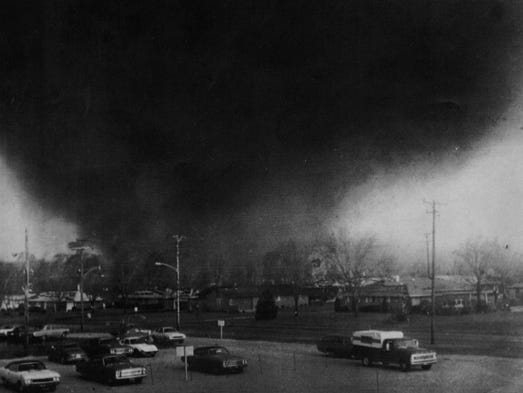 APRIL 3, 1974: A tornado funnel cloud moves through the southeast Pinecrest Garden section of Xenia.